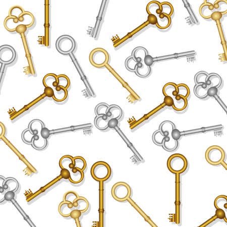 set of keys: pattern of old keys gold and silver on white background