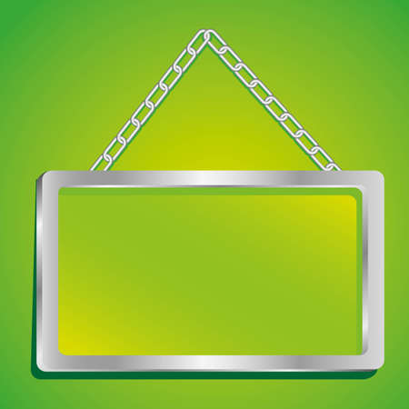 metal frame with glass and chain on a green background Vector