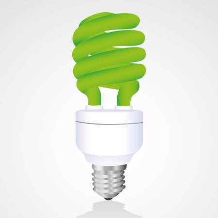 bombillo ahorrador: Verde bombilla de ahorro aisladas sobre fondo blanco