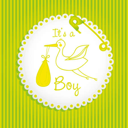 label baby shower background of green lines, is a boy Vector