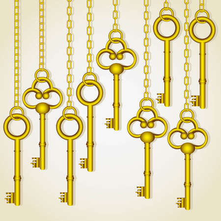 old golden keys dangling chain links Vector