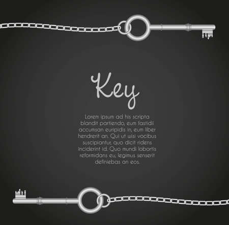 old door: old keys with link chain black background with text