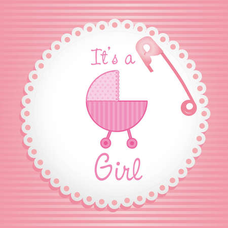 label baby shower background of green lines, its a gril Vector