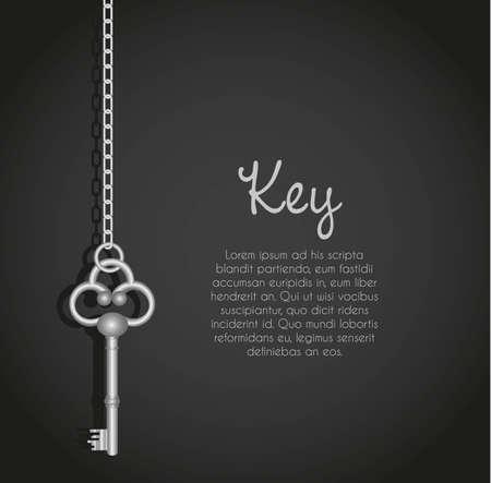 llaves antiguas con el fondo negro eslabón de la cadena con el texto Ilustración de vector