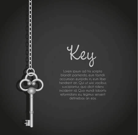 old keys with link chain black background with text Vector