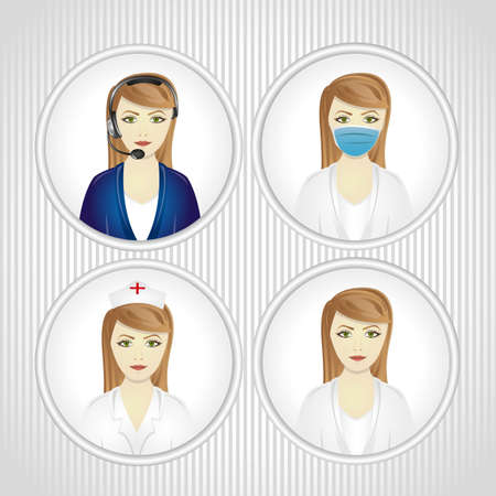 contact centre: faceted set of women in labor illustration Illustration