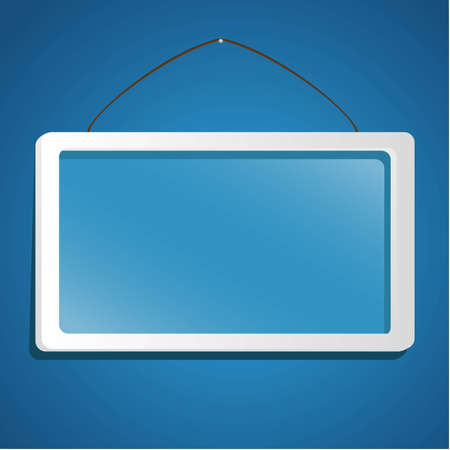 glass frame suspended from a rope isolated on blue background Stock Vector - 13447101