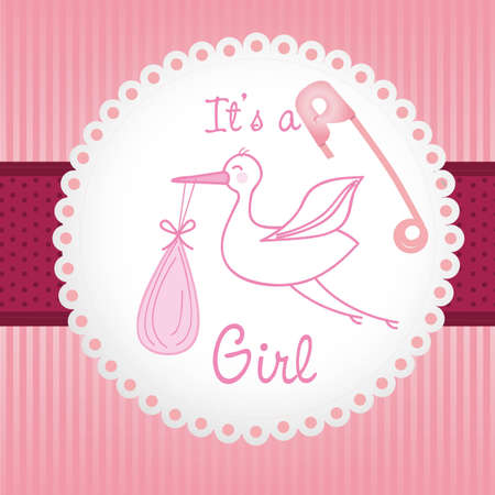 label baby shower background of green lines, is a girl Illustration