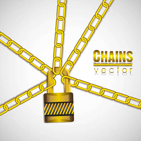 gold chains attached by a padlock illustration Stock Vector - 13447800