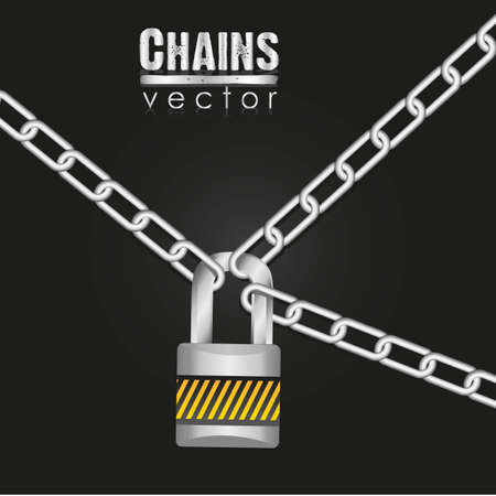 Silver chains attached by a padlock illustration Stock Vector - 13447790