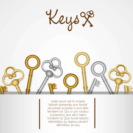 pattern of old keys gold and silver on white background Vector