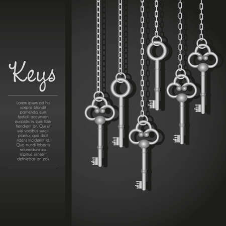 chain link: old keys with link chain black background with text