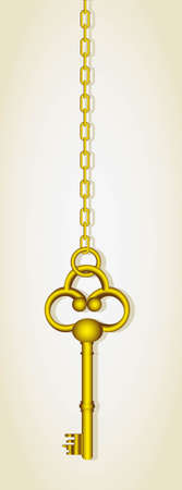 latch: old golden key dangling chain links Illustration