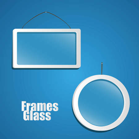 set of glass frame suspended from a rope isolated on blue background Stock Vector - 13447274