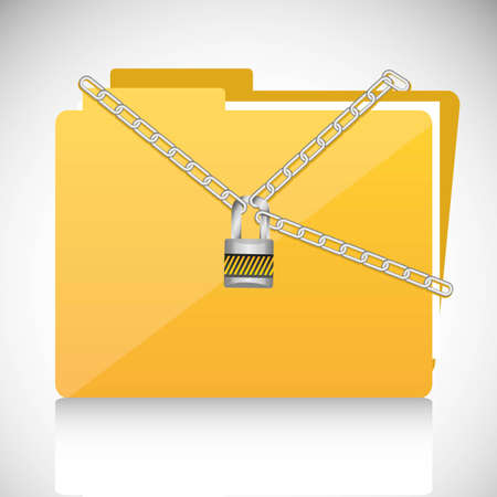 chains with a padlock on file folder conceptual illustration Stock Vector - 13447788