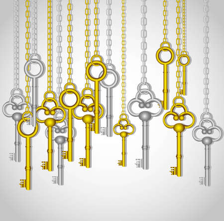 old keys hanging from gold and silver link chain Vector