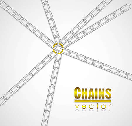 chains linked by golden link in the center illustration Stock Vector - 13447799