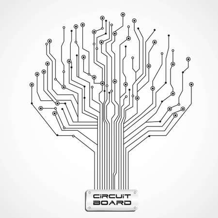 circuitos electricos: ilustraci�n de la placa de circuito con forma de �rbol