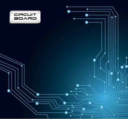 componentes electronicos: la placa de circuito en tonos azules con destellos ilustraci�n