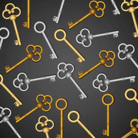 pattern of old keys, gold and silver isolated on black Vector