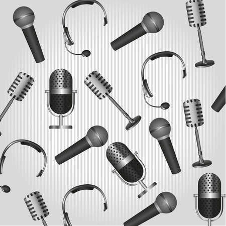 pattern of headphones and microphones, on background lines Vector