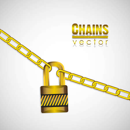 gold chains attached by a padlock illustration Stock Vector - 13447795