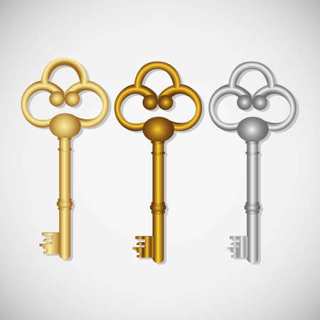 set of old keys, isolated on white background Vector