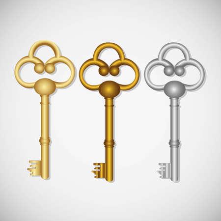 oude sleutel: set van oude sleutels, geïsoleerd op een witte achtergrond Stock Illustratie