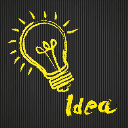 lightbulb idea: bulbo concettuale, su sfondo illustrazione linee