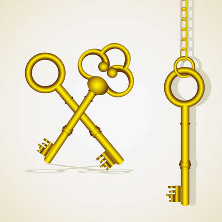 old golden key dangling chain links Vector