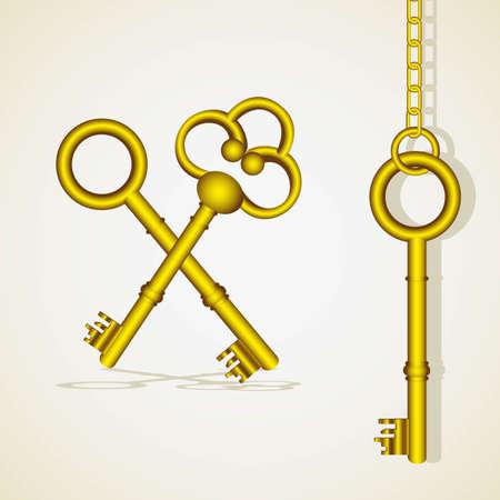 golden key: old golden key dangling chain links Illustration
