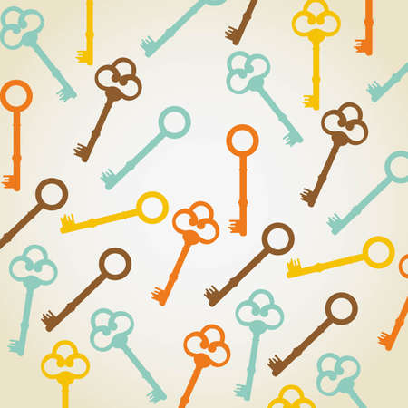 latch: retro background of old keys illustration