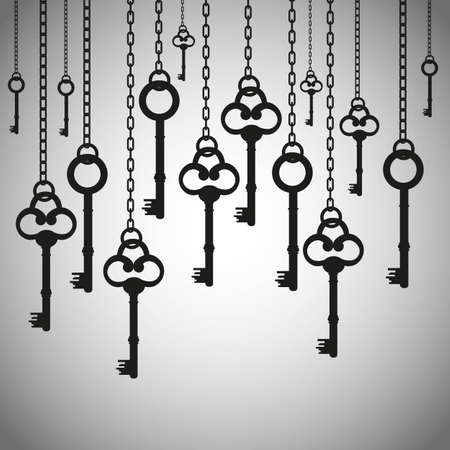 silhouettes of old keys hanging chain links