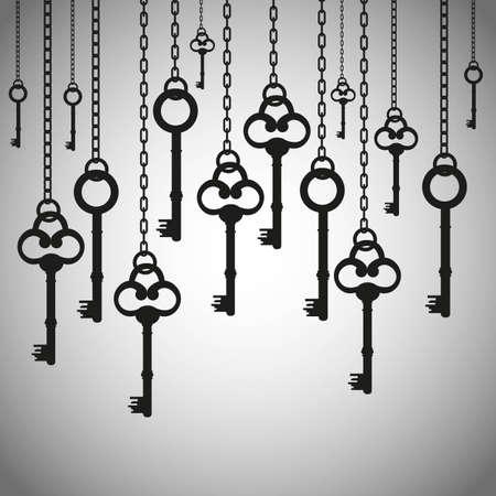 keys isolated: siluetas de las antiguas llaves colgando eslabones de la cadena