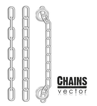 set of silver link chains illustration Vector