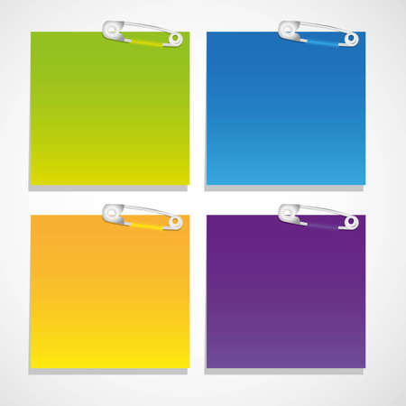 set of colored sheets of paper held together with safety pins Vector
