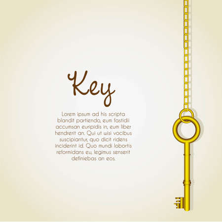 old golden keys dangling chain links Vector