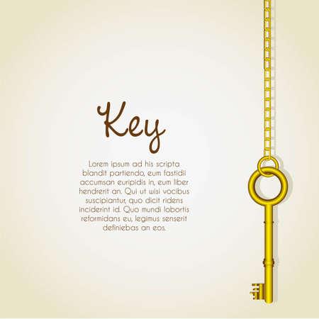 key chain: old golden keys dangling chain links Illustration