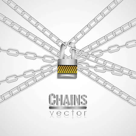 Silver chains attached by a padlock illustration Vector