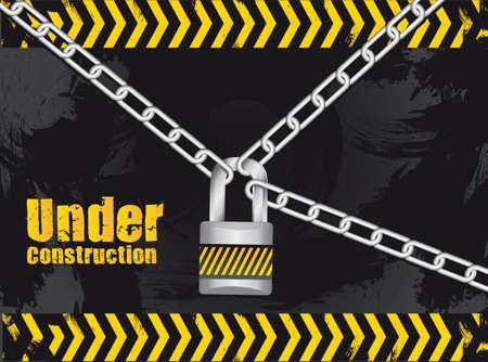 geketend: in aanbouw geschakeld met een hangslot op grunge achtergrond Stock Illustratie