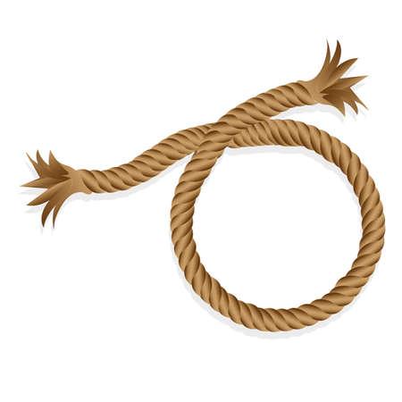 geflochtenes Seil isoliert auf weißem Hintergrund, Vektor-Illustration