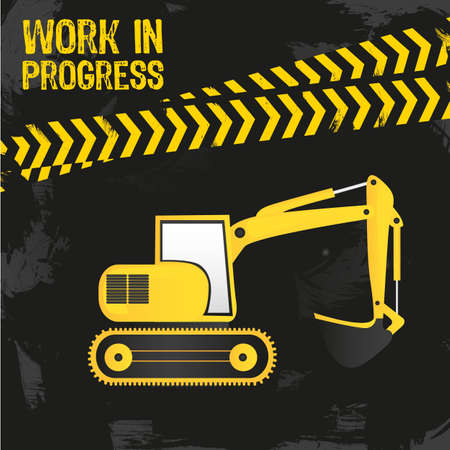 dozer: backhoe design, under construction, vector illustration