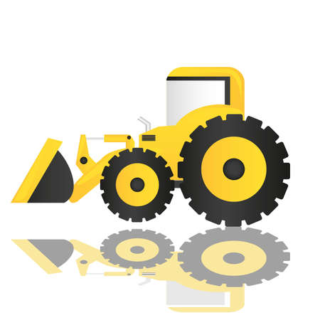 scraper: backhoe cartoon isolated on white background  Illustration
