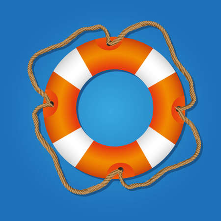 preserver: lifesaving float, orange and white, isolated on blue background