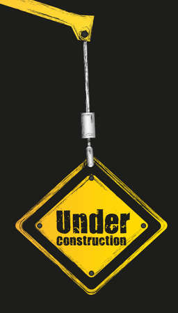 agricultural engineering: under construction sign hanging hook isolated on black grunge background