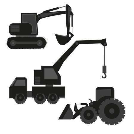 construction machinery silhouetted isolated on white background Vector