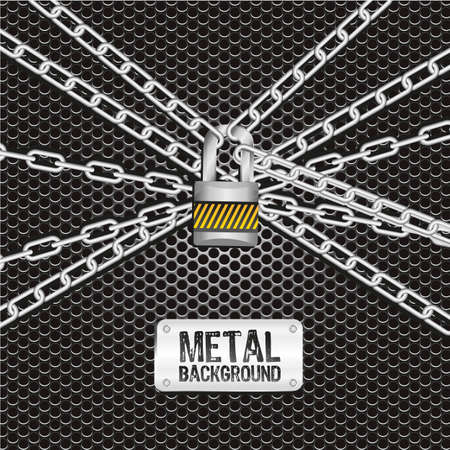 chains locked together on a background of metal with holes Vector