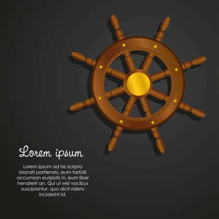 timon barco: Del timón de barco aislado en fondo negro, ilustración vectorial