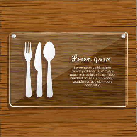 glass plate on wooden background, for restaurant, vector illustration Vector
