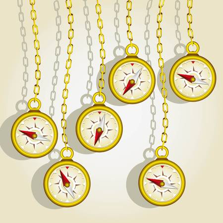 hanging golden compasses fund of gold chains Vector